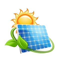 Solar panel and sun icon vector