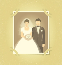 Old wedding photo in family album vector