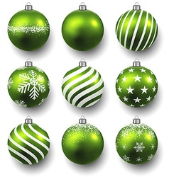 Set of realistic green christmas balls vector