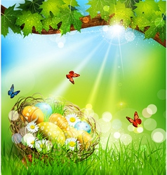 background with Easter nest and eggs on the meadow vector image
