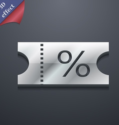 Ticket discount icon symbol 3d style trendy modern vector