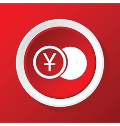 Yen coin icon on red vector