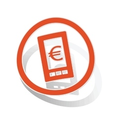Euro screen sign sticker orange vector