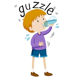 Little boy gazzle from water bottle vector
