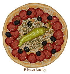 Pizza with salami and bell pepper vector