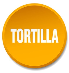Tortilla orange round flat isolated push button vector