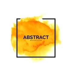 Abstract yellow watercolor splash with square vector