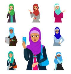 Arabic woman adult character arabian asia vector