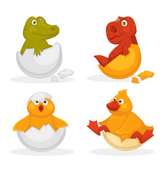 baby animals hatch eggs or cartoon pets hatching vector image