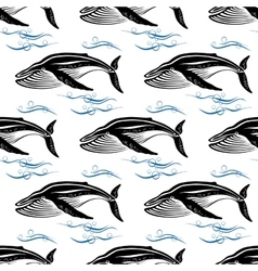Big swimming cachalots seamless pattern vector