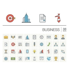 Business and management color icons vector