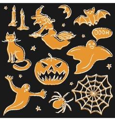 Chalkboard Halloween silhouette set vector image
