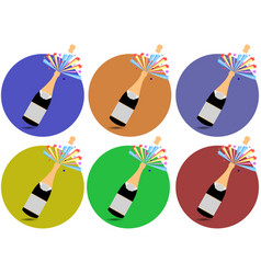 Champagne cork flying out of a bottle icons vector