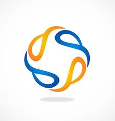 Circle abstract swirl tech logo vector