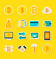 Currency bitcoin stickers vector