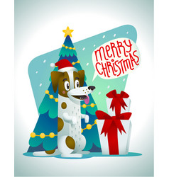 cute dog with holiday gifts and speech bubble vector image