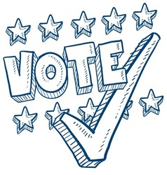 doodle vote check stars vector image