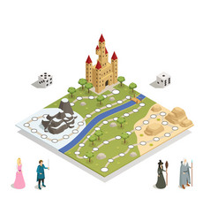 Fairy tale gameboard isometric composition vector