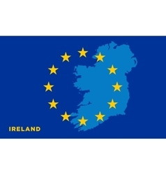 Flag of European Union with Ireland on background vector image