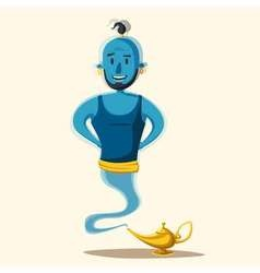 Genie coming out of a magic lamp cartoon vector