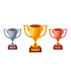 gold silver and bronze trophy cup in sartoon vector image