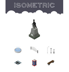 Isometric urban set of sculpture street lanterns vector