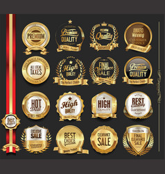 Luxury retro badges gold and silver collection vector