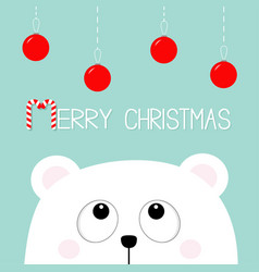 merry christmas candy cane polar white little vector image vector image