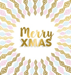 Merry xmas gold mandala design in light colors vector