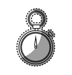 Monochrome contour sticker of chronometer with vector