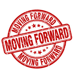 Moving forward red grunge stamp vector