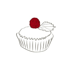 Muffin sketch vector image vector image