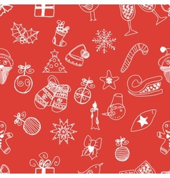 New Year doodles seamless pattern vector image vector image