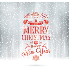 Red silver merry christmas typography card vector