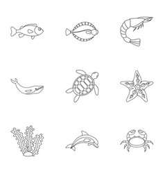sea animals icons set outline style vector image vector image