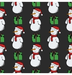 Seamless pattern of snowmen vector image vector image
