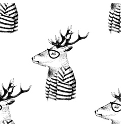 Seamless pattern with dressed up deer vector
