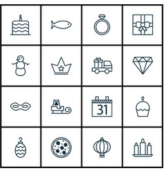 Set of 16 happy new year icons includes winter vector