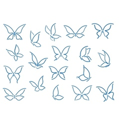 Set of butterfly silhouettes vector image vector image