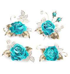 Set of turquoise roses vector