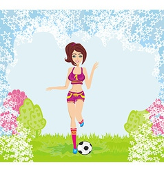 sexy girl playing football vector image