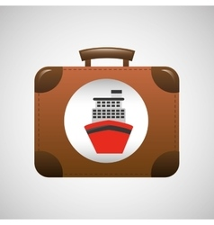 Suitcase vintage travel cruise ship concept design vector