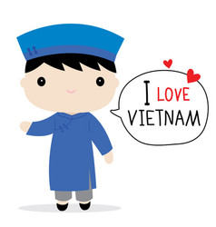 Vietnam men national dress cartoon vector