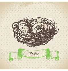 Vintage background with easter eggs and nest vector