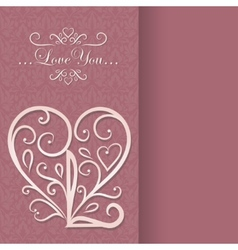 Vintage card with floral heart i love you vector