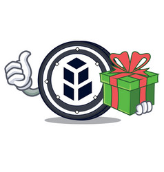 With gift bancor coin mascot cartoon vector