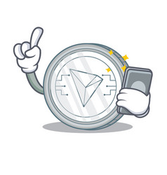 With phone tron coin character cartoon vector
