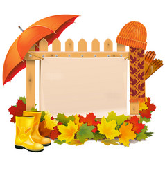 wooden fence with autumn leaves vector image vector image