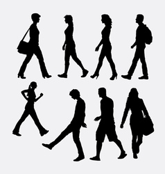 People walking silhouette vector