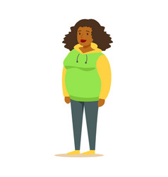 Young black woman in a hoodie with curly hair vector